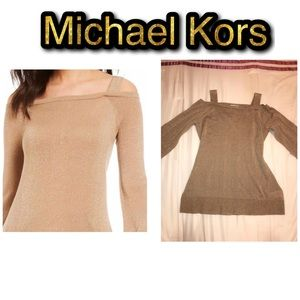 Michael Kors Glittery Gold Cold Shoulder Top